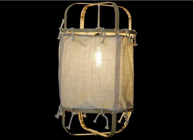 lampara-techo-nordica-tela-bambu-encendida