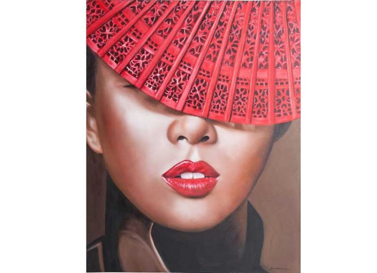 cuadro-lienzo-mujer-oriental-abanico-rojo