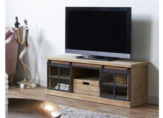 mueble-television-industrial-puertas-correderas-metal-cristal