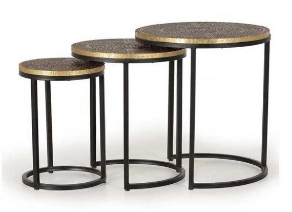 mesas-nido-india-metal-grabado-bronce