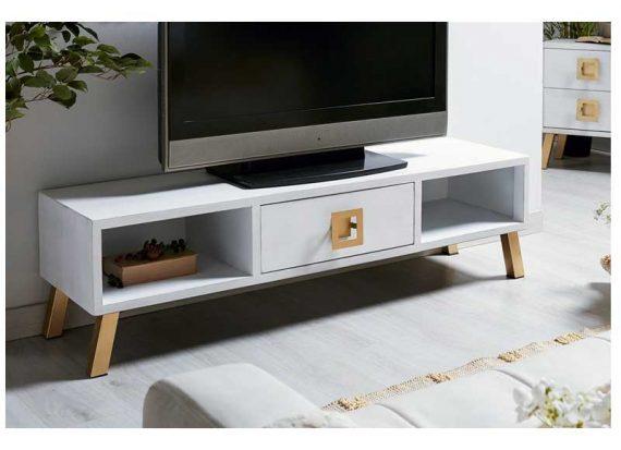 mueble-television-moderno-blanco-dorado