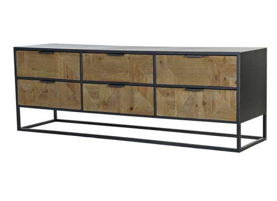 mueble-television-industrial-metal-cajones-madera
