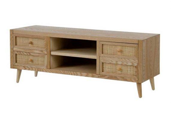 mueble-television-rustico-madera-cajones-rattan