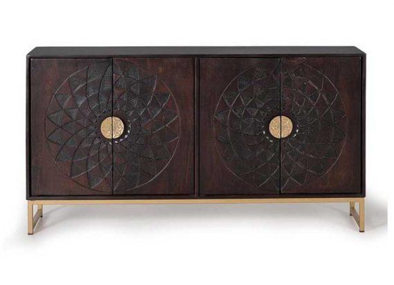 aparador-roseton-tallado-madera-marron