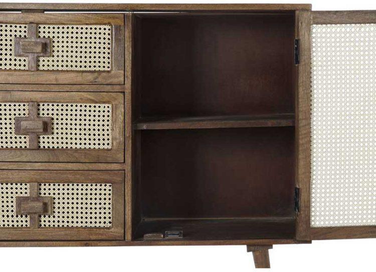 aparador-rustico-madera-puertas-rejilla-rattan-abierto