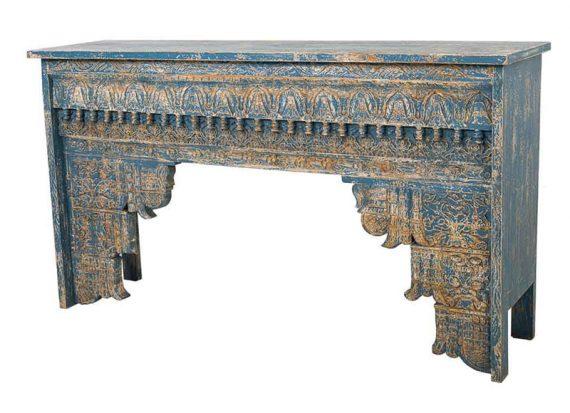 consola-india-azul-envejecido-tallada