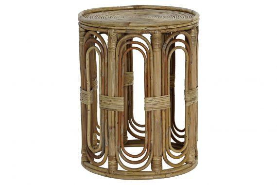 mesa-auxiliar-pequeña-redonda-bambu-rattan