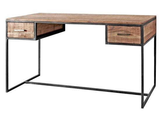 escritorio-madera-rustica-metal-dos-cajones
