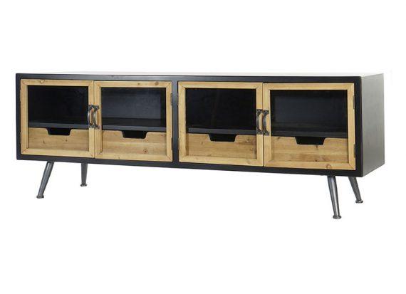 mueble-television-negro-natural-puertas-cristal