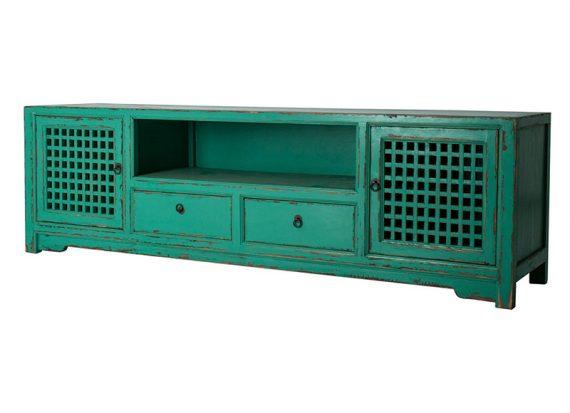 mueble-television-oriental-azul-envejecido